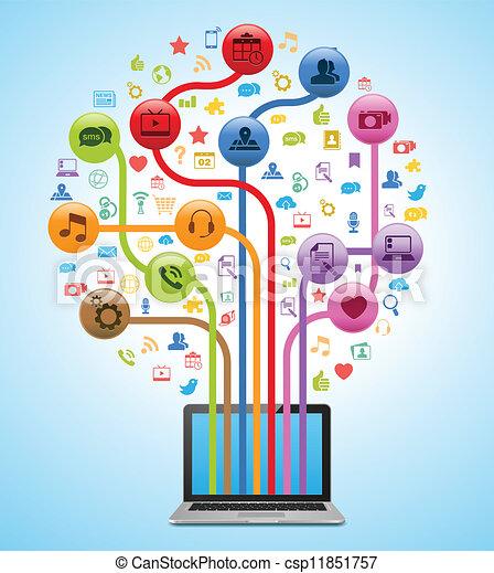 tecnologia, app, albero - csp11851757
