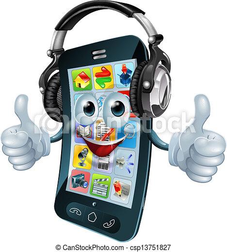 telefono, cuffie, musica - csp13751827