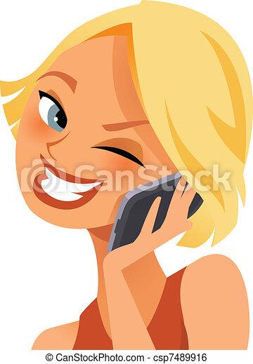 telefono, felice - csp7489916