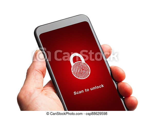 telefono, impronta digitale, scansione, far male - csp88629598