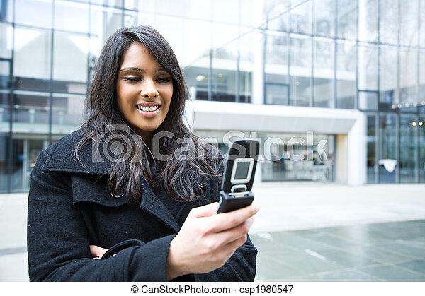 telefono, indiano, texting, donna d'affari - csp1980547