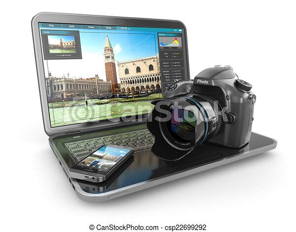 telefono., macchina fotografica, viaggiatore, giornalista foto, laptop, o, mobile - csp22699292