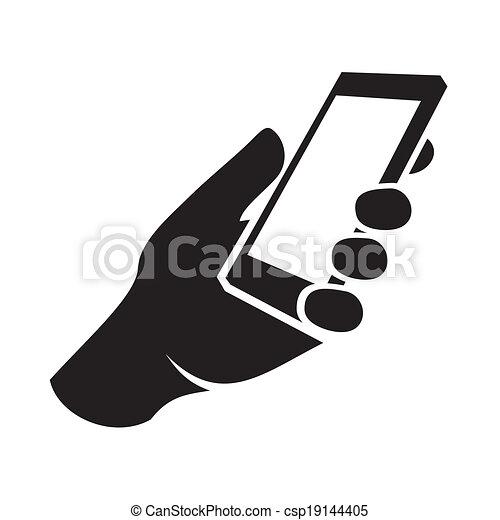 telefono mobile, icon., vettore, mano - csp19144405