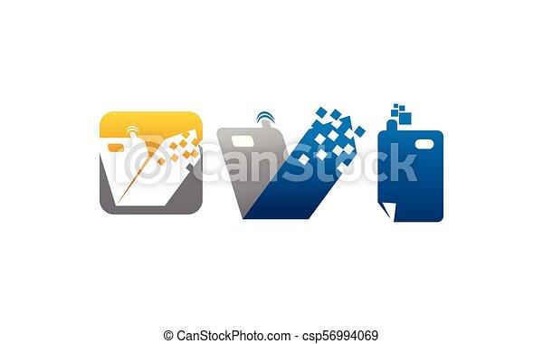 telefono mobile, set, centro, domande - csp56994069