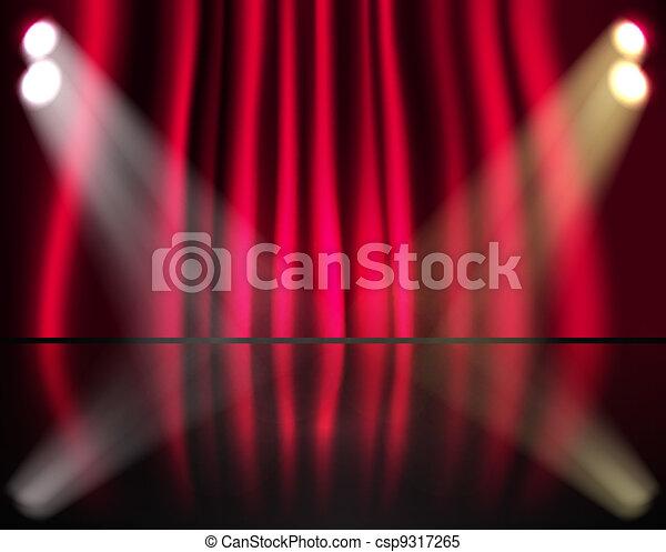 tenda, illuminazione, rosso, palcoscenico - csp9317265