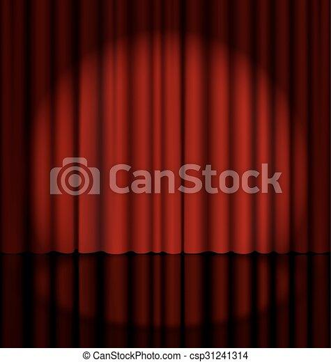 tenda, palcoscenico, luce macchia - csp31241314