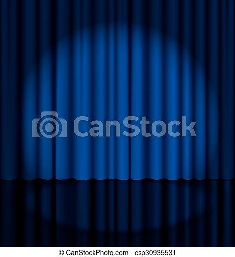tenda, palcoscenico, luce macchia - csp30935531