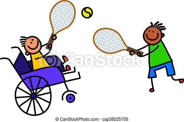 tennis, invalido, ragazzo, giochi - csp38225705