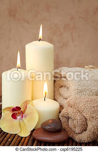 terme, bianco, candele - csp6195225