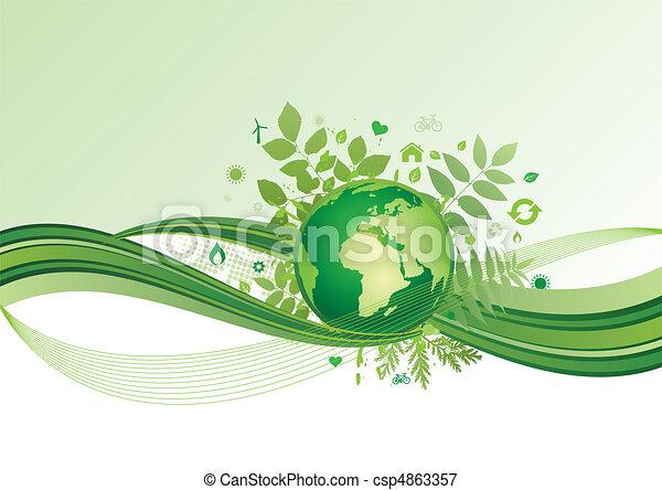 terra, ambiente, verde, ba, icona - csp4863357