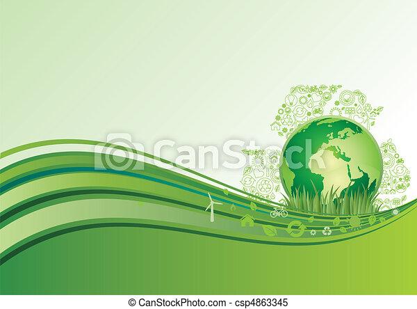 terra, ambiente, verde, ba, icona - csp4863345