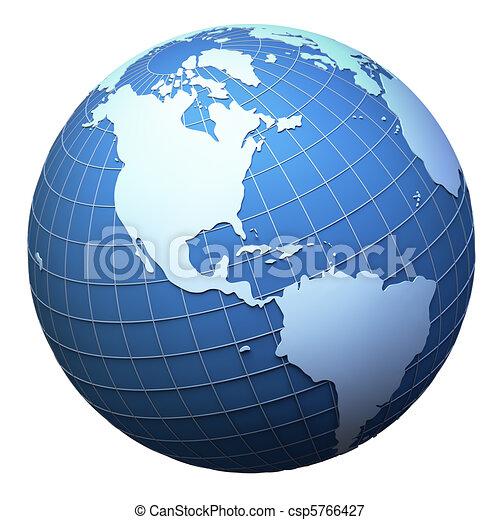 terra pianeta, modello, isolato, -, americas, bianco - csp5766427