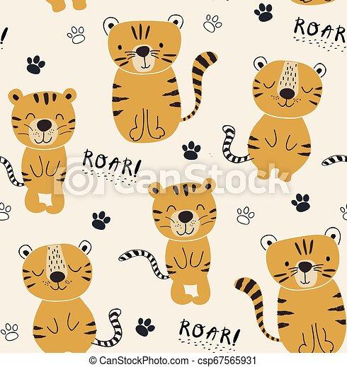 tessuto, illustrazione, seamlesss, divertente, vivaio, infantile, tigri, bambini, modello, vestiti - csp67565931