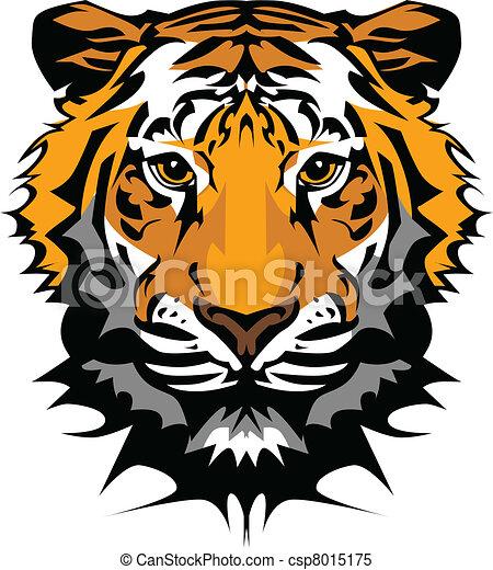testa, tiger, vettore, mascotte, grafico - csp8015175