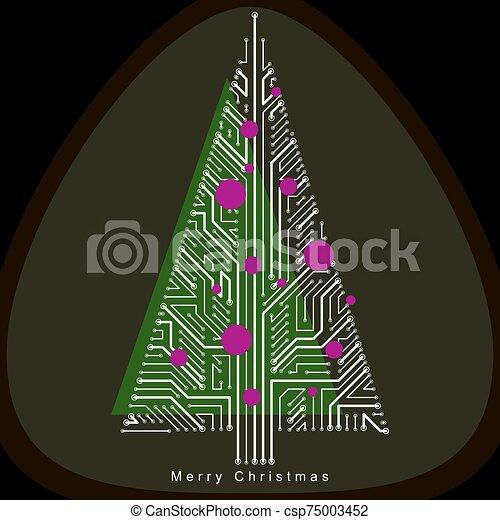 theme., creato, sempreverde, branches., collegato, concept., wireframe, eco, albero natale, amichevole, linee, celebrazione, vettore, illustrazione tecnologia - csp75003452