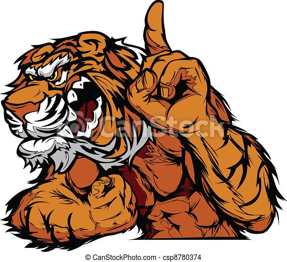 tiger, corpo, vettore, cartone animato, mascotte - csp8780374