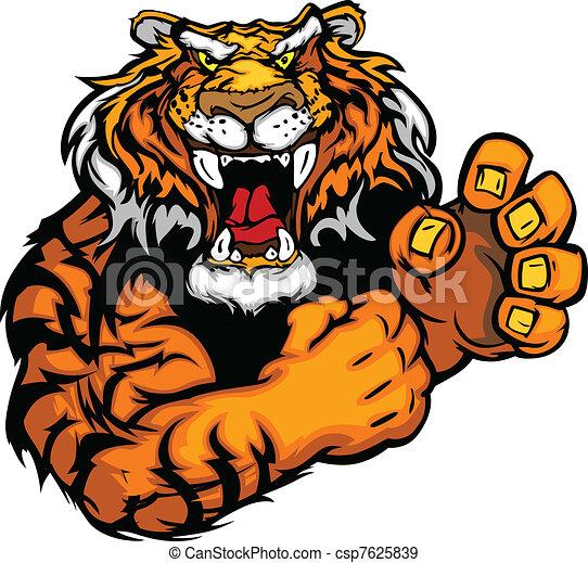 tiger, immagine, vettore, mascotte - csp7625839
