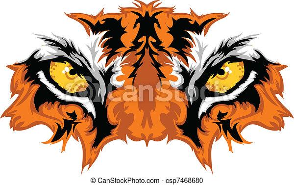 tiger, occhi, mascotte, grafico - csp7468680