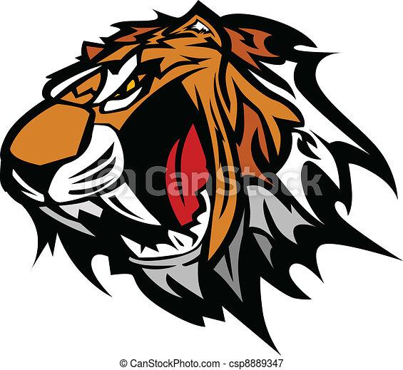 tiger, vettore, mascotte, grafico - csp8889347