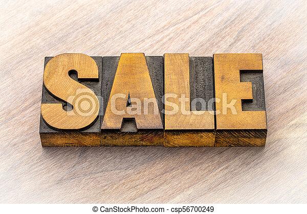 tipo, legno, bandiera, vendita, letterpress - csp56700249