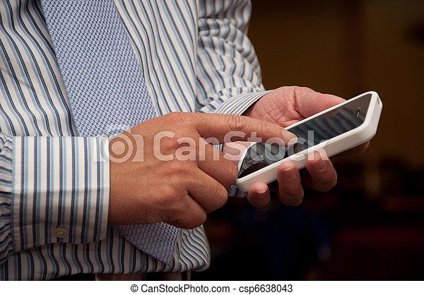 tocco, telefono, uomo affari - csp6638043