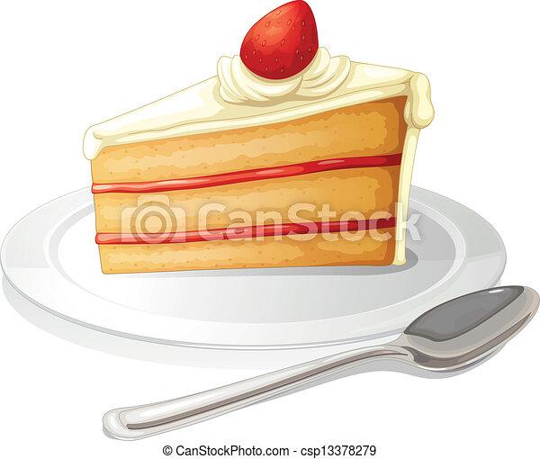 torta, piastra, bianco, fetta, glassa - csp13378279
