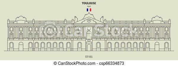 toulouse, france., punto di riferimento, municipio, icona - csp66334873