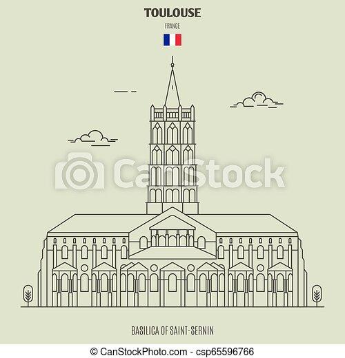 toulouse, france., punto di riferimento, saint-sernin, basilica, icona - csp65596766