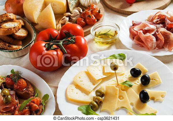 tradizionale, cibo, antipasto, italiano, antipasto - csp3621431