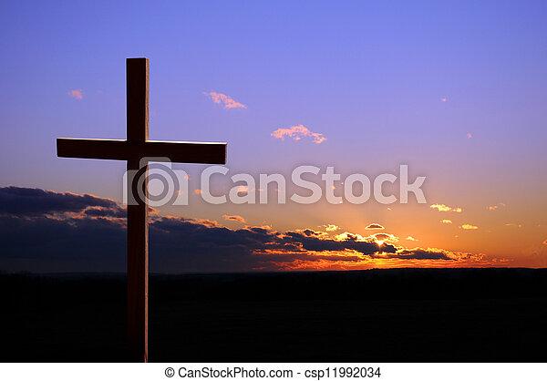 tramonto, croce - csp11992034
