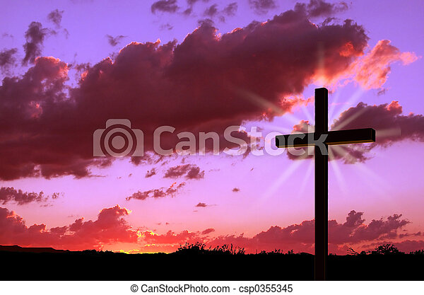 tramonto, croce - csp0355345