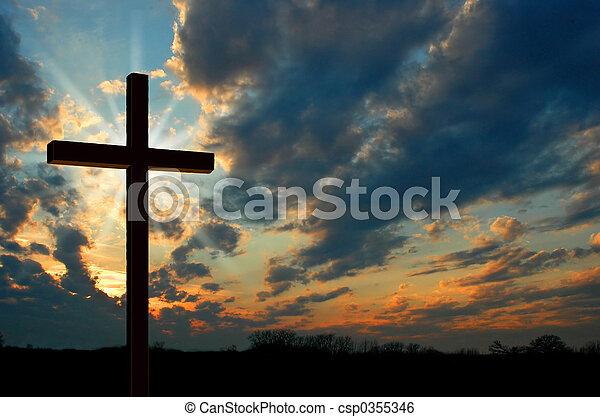 tramonto, croce - csp0355346