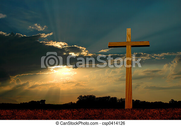 tramonto, croce - csp0414126