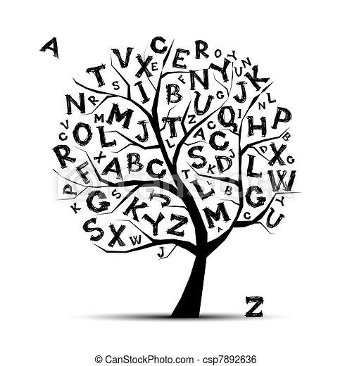 tuo, lettere, arte, albero, disegno, alfabeto - csp7892636