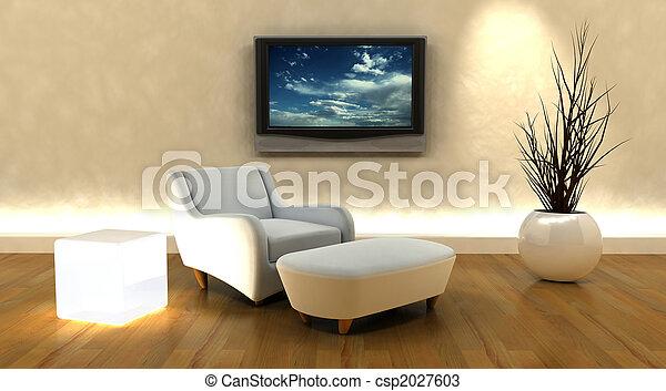 tv, divano, render, 3d - csp2027603