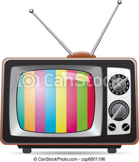 tv, retro, illustrazione, set, vettore - csp6801196
