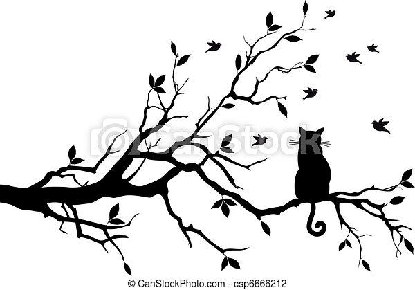 uccelli, vettore, albero, gatto - csp6666212