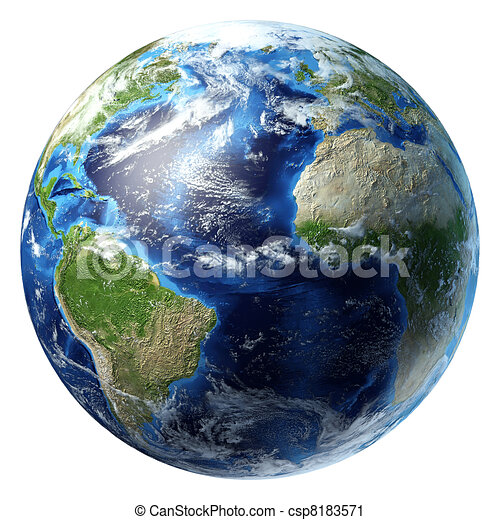 un po', clouds., pianeta, atlantico, terra, vista., oceano - csp8183571