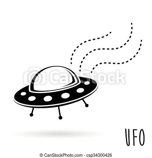 (unidentified, ufo, volare, object)., illustrazione, vettore, piattino - csp34300426