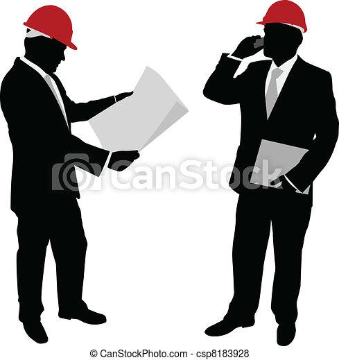 uomo affari, cappello duro - csp8183928