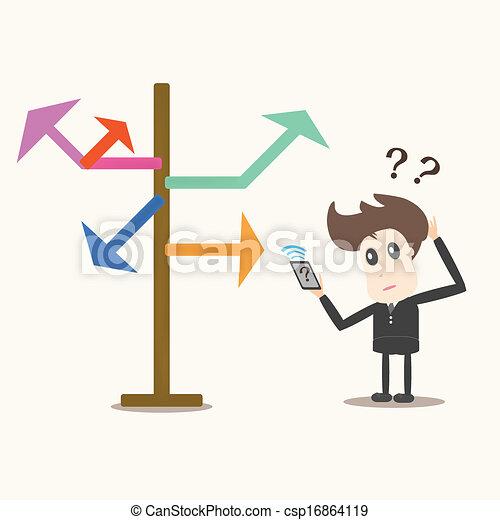 uomo affari, direzione, arrows., scelta, fronte - csp16864119