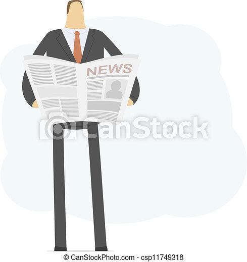 uomo affari, leggere, giovane, notizie - csp11749318