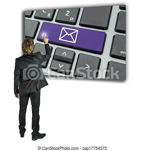 uomo affari, messaggio, email, invio - csp17754373