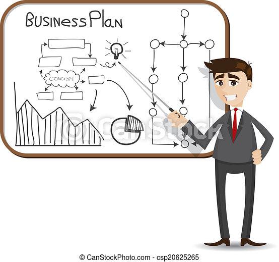 uomo affari, presentazione, piano, affari, cartone animato - csp20625265