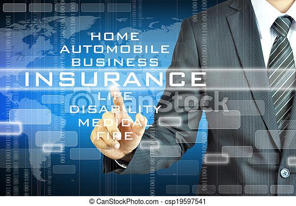 uomo affari, schermo, segno, virsual, assicurazione, toccante - csp19597541