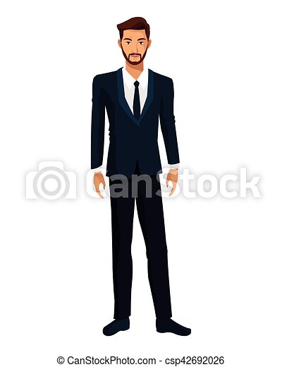 uomo, barbuto, esecutivo, causa affari - csp42692026