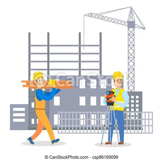 uomo, comunicare, costruttore, caposquadra, duro, costruzione, maschio, cappello, uniforme, costruzione - csp86169099