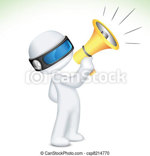 uomo, megafono, vettore, parlante, 3d - csp8214770