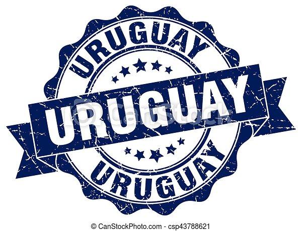 uruguay, rotondo, nastro, sigillo - csp43788621