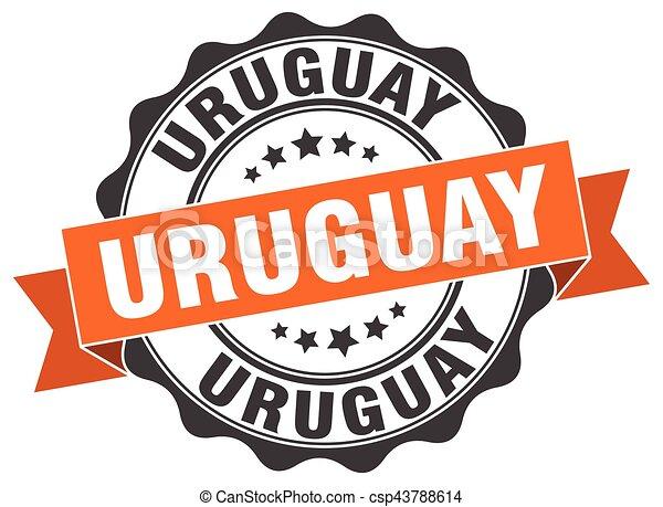 uruguay, rotondo, nastro, sigillo - csp43788614